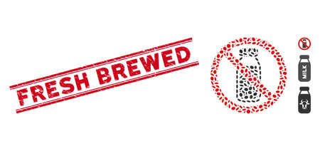 Grunge red stamp seal with Fresh Brewed caption between double parallel lines, and mosaic no milk bottle icon. Mosaic vector is created with no milk bottle pictogram and with randomized oval elements.