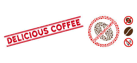 Grunge red stamp seal with Delicious Coffee phrase between double parallel lines, and mosaic no coffee bean icon. Mosaic vector is formed with no coffee bean icon and with random oval elements. Vector Illustratie