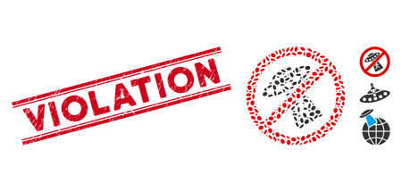 Rubber red stamp watermark with Violation text between double parallel lines, and mosaic no UFO abduction icon. Mosaic vector is designed with no UFO abduction icon and with randomized ellipse items.