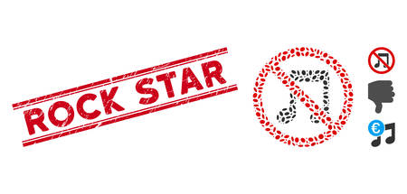 Corroded red stamp seal with Rock Star text between double parallel lines, and mosaic no melody icon. Mosaic vector is designed from no melody icon and with scattered oval spots.