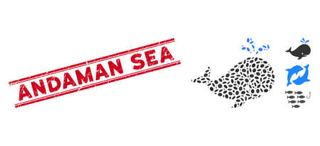 Grunge red stamp seal with Andaman Sea phrase inside double parallel lines, and mosaic whale icon. Mosaic vector is formed with whale icon and with scattered oval spots.
