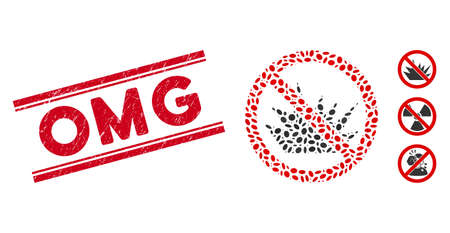 Distressed red stamp watermark with Omg text inside double parallel lines, and mosaic no bang icon. Mosaic vector is designed from no bang icon and with randomized oval elements.