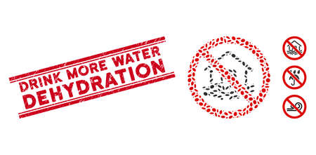 Distressed red stamp seal with Drink More Water Dehydration phrase inside double parallel lines, and mosaic no flood disaster icon.