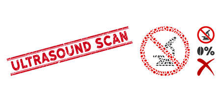 Grunge red stamp watermark with Ultrasound Scan text between double parallel lines, and mosaic no microscope icon. Mosaic vector is created with no microscope icon and with randomized oval items. Illustration