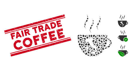 Rubber red stamp watermark with Fair Trade Coffee phrase inside double parallel lines, and mosaic italian coffee cup icon. Ilustrace