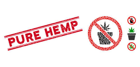 Rubber red stamp seal with Pure Hemp text between double parallel lines, and mosaic no cannabis pot icon. Mosaic vector is composed with no cannabis pot icon and with scattered oval spots.