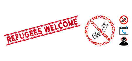 Rubber red stamp seal with Refugees Welcome caption inside double parallel lines, and mosaic no phone icon. Mosaic vector is composed with no phone icon and with scattered elliptic items. Ilustração
