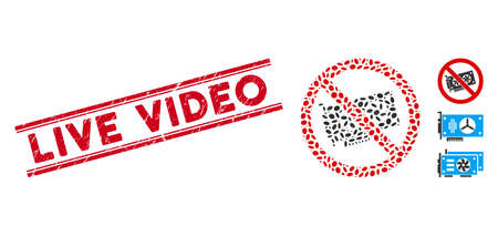 Grunge red stamp seal with Live Video caption inside double parallel lines, and mosaic no videocard icon. Mosaic vector is created from no videocard icon and with randomized ellipse spots.