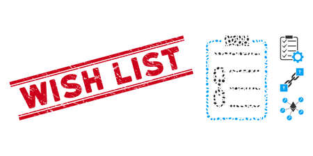 Rubber red stamp seal with Wish List text inside double parallel lines, and mosaic blockchain contract icon. Mosaic vector is created with blockchain contract icon and with randomized ellipse spots. 스톡 콘텐츠 - 140747475