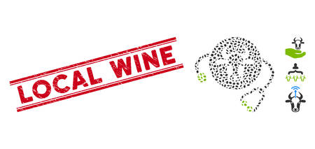 Distressed red stamp seal with Local Wine caption between double parallel lines, and mosaic cow veterinary icon. Mosaic vector is formed from cow veterinary icon and with random ellipse spots.
