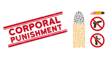 Rubber red stamp watermark with Corporal Punishment caption between double parallel lines, and mosaic ammo bullet icon. Mosaic vector is designed with ammo bullet icon and with scattered oval items.