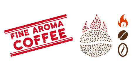 Corroded red stamp seal with Fine Aroma Coffee text between double parallel lines, and mosaic fired coffee bean icon.
