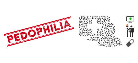 Distressed red stamp seal with Pedophilia caption inside double parallel lines, and collage computer doctor icon. Mosaic vector is composed with computer doctor icon and with scattered ellipse spots.