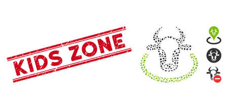 Rubber red stamp seal with Kids Zone caption inside double parallel lines, and collage cow area icon. Mosaic vector is formed with cow area pictogram and with randomized oval items.