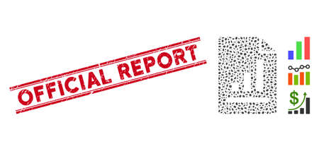 Corroded red stamp watermark with Official Report caption inside double parallel lines, and mosaic chart page icon. Mosaic vector is composed with chart page icon and with random oval elements. Vektorové ilustrace