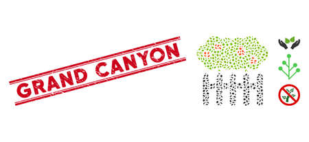 Grunge red stamp watermark with Grand Canyon phrase inside double parallel lines, and mosaic garden icon. Mosaic vector is formed from garden icon and with scattered ellipse items.