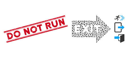 Corroded red stamp seal with Do Not Run text inside double parallel lines, and collage exit arrow icon. Mosaic vector is created with exit arrow icon and with random oval items. Stock Illustratie