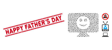 Distressed red stamp seal with Happy Father'S Day caption between double parallel lines, and mosaic display smile icon.