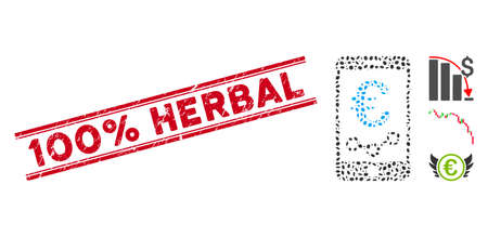 Corroded red stamp seal with 100% Herbal caption inside double parallel lines, and mosaic Euro mobile report icon.