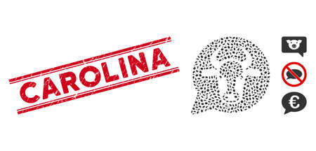 Grunge red stamp seal with Carolina text between double parallel lines, and mosaic cow message balloon icon. Mosaic vector is formed with cow message balloon icon and with scattered oval elements.