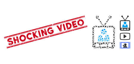 Distressed red stamp watermark with Shocking Video phrase between double parallel lines, and mosaic television icon. Mosaic vector is designed with television icon and with randomized oval items.