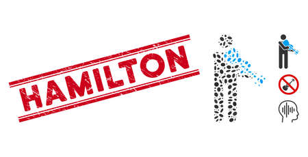 Rubber red stamp seal with Hamilton caption between double parallel lines, and mosaic violinist icon. Mosaic vector is designed with violinist pictogram and with scattered ellipse spots.