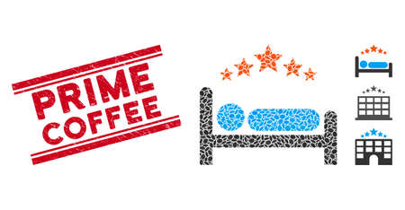 Corroded red stamp seal with Prime Coffee caption between double parallel lines, and mosaic star hotel bed icon. Mosaic vector is designed from star hotel bed icon and with randomized oval elements.