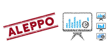 Distressed red stamp seal with Aleppo caption inside double parallel lines, and mosaic bar chart monitoring icon. Mosaic vector is created with bar chart monitoring icon and with random oval elements. Ilustración de vector
