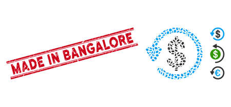 Rubber red stamp seal with Made in Bangalore text inside double parallel lines, and collage refund icon. Mosaic vector is formed with refund icon and with random elliptic items.