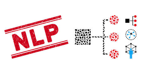 Rubber red stamp watermark with Nlp phrase inside double parallel lines, and collage structure diagram icon. Mosaic vector is formed with structure diagram icon and with scattered oval items. Ilustración de vector