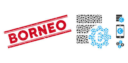 Rubber red stamp seal with Borneo phrase between double parallel lines, and mosaic Euro financial database options icon. Çizim