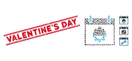 Grunge red stamp seal with ValentineS Day phrase between double parallel lines, and mosaic development calendar day icon.