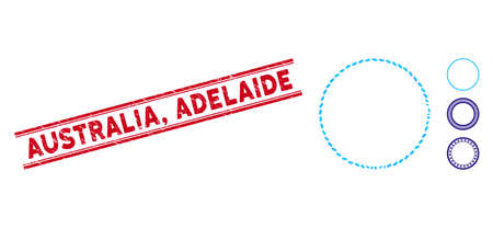 Grunge red stamp seal with Australia, Adelaide phrase between double parallel lines, and mosaic circle frame icon. Mosaic vector is created with circle frame icon and with random ellipse spots.