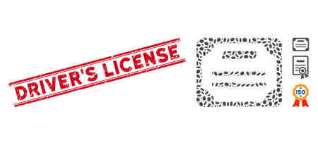 Grunge red stamp watermark with DriverS License caption between double parallel lines, and mosaic license icon. Mosaic vector is designed with license icon and with scattered elliptic items. Vetores