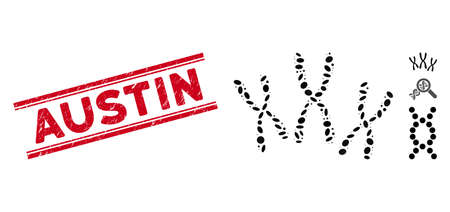 Grunge red stamp seal with Austin caption between double parallel lines, and mosaic chromosomes icon. Mosaic vector is designed with chromosomes icon and with randomized elliptic spots.