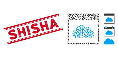 Rubber red stamp watermark with Shisha text inside double parallel lines, and collage cloud calendar page icon. Mosaic vector is formed with cloud calendar page icon and with randomized ellipse spots.