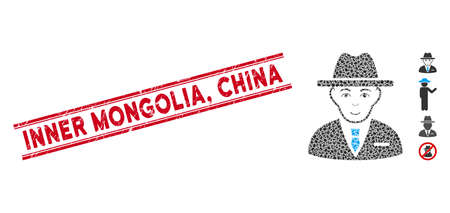 Rubber red stamp seal with Inner Mongolia, China phrase inside double parallel lines, and mosaic agent icon. Mosaic vector is created with agent icon and with random ellipse items. Inner Mongolia,