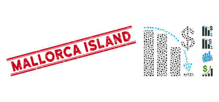 Grunge red stamp watermark with Mallorca Island phrase between double parallel lines, and mosaic epic fail icon. Mosaic vector is formed with epic fail icon and with scattered ellipse spots.