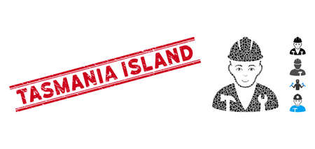 Grunge red stamp watermark with Tasmania Island caption between double parallel lines, and mosaic serviceman icon. Mosaic vector is created from serviceman icon and with scattered oval spots. Ilustracja