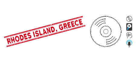 Rubber red stamp seal with Rhodes Island, Greece phrase inside double parallel lines, and mosaic music disk icon. Mosaic vector is formed with music disk icon and with random ellipse elements.