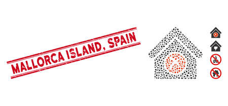 Grunge red stamp seal with Mallorca Island, Spain caption between double parallel lines, and collage erase building icon. Ilustracja