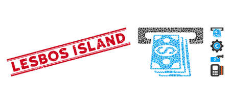 Corroded red stamp watermark with Lesbos Island phrase inside double parallel lines, and mosaic cash machine icon. Mosaic vector is designed with cash machine icon and with randomized ellipse items. Ilustracja