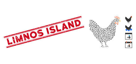 Distressed red stamp watermark with Limnos Island caption between double parallel lines, and mosaic chicken icon. Mosaic vector is formed from chicken icon and with random ellipse spots.
