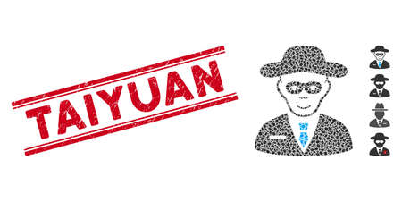 Rubber red stamp seal with Taiyuan text inside double parallel lines, and mosaic security agent icon. Mosaic vector is created from security agent icon and with randomized oval spots.