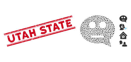 Grunge red stamp watermark with Utah State phrase between double parallel lines, and mosaic neutral smiley message icon.