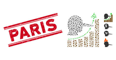 Rubber red stamp seal with Paris text between double parallel lines, and collage liar hyip chart icon. Mosaic vector is created with liar hyip chart icon and with random oval elements.