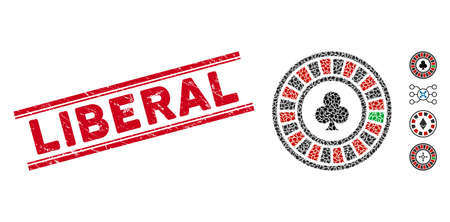 Grunge red stamp watermark with Liberal caption between double parallel lines, and mosaic casino roulette icon. Mosaic vector is composed with casino roulette icon and with random ellipse elements.