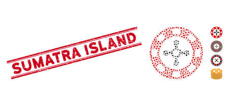 Distressed red stamp seal with Sumatra Island text between double parallel lines, and mosaic roulette casino chip icon.