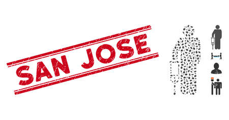 Corroded red stamp watermark with San Jose text between double parallel lines, and mosaic patient crutch icon. Mosaic vector is created with patient crutch icon and with randomized oval items.