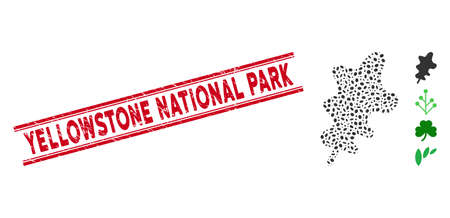 Corroded red stamp seal with Yellowstone National Park phrase between double parallel lines, and mosaic oak leaf icon. Mosaic vector is formed with oak leaf icon and with random elliptic items.